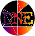 DNE Productions logo - violet to yellow colour gradient version